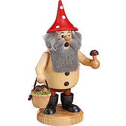 Smoker  -  Forest Gnome Mushroom Picker Natural  -  15cm / 6 inch