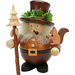 Smoker  -  Forest Man with Squirrel Natural Wood  -  17,5cm / 7 inch