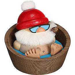 Smoker  -  Santa Claus Karl in the Pool  -  Ball Figure  -  10cm / 3.9 inch