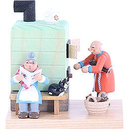 Smoker  -  Smoking Oven Grandmother and Grandfather  -  10cm / 4 inch