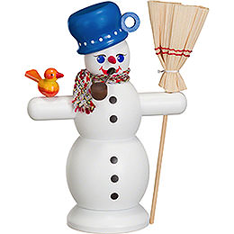 Smoker  -  Snowman with Blue Pot  -  16cm / 6 inch