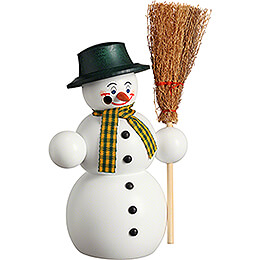 Smoker  -  Snowman with Broom  -  16cm / 6.3 inch