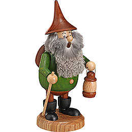 Smoker  -  Timber - Gnome Wanderer Green  -  Hat Brown  -  15cm / 6 inch