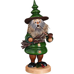 Smoker  -  Tree Gnome Wood Collector  -  21cm / 8.3 inch
