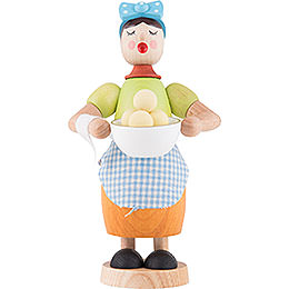 Smoker  -  Woman with Dumplings  -  17cm / 6.7 inch