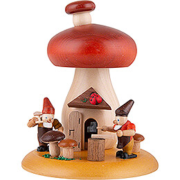 Smoking Hut  -  Mushroom with Dwarves  -  13cm / 5.1 inch