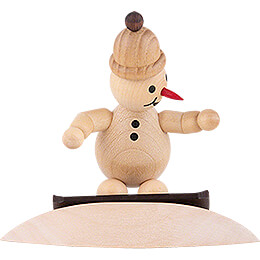 "Snowman  -  Junior ""on snowdrift"" with cap  -  9,5cm / 3.7 inch"