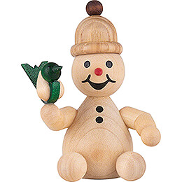 "Snowman  -  Junior ""with bird""  -  7cm / 2.8 inch"