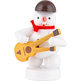 Snowman Musician with Double Neck Guitar  -  8cm / 3.1 inch