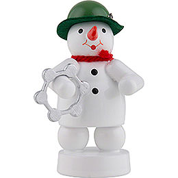 Snowman Musician with Tambourine  -  8cm / 3 inch