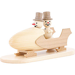 Snowman Two - Man Bobsled with Zylinder  -  12cm / 4.7 inch