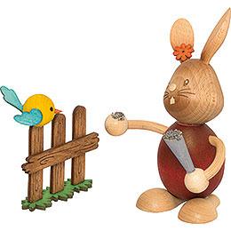 Snubby Bunny with Bird  -  12cm / 4.7 inch