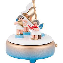 Spieldose mit Engeln und Harfe  -  14cm