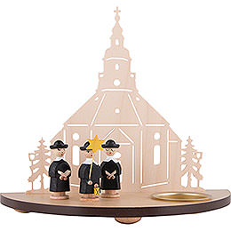 Tea Light Holder  -  Seiffen Church with Carolers  -  Black  -  16cm / 6.3 inch