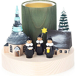 "Tea Light Holder ""Winter Village Seiffen"" with Carolers  -  9cm / 3.5 inch"