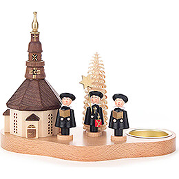 Tea Light Holder with Seiffen Church and Carolers  -  12cm / 4.7 inch