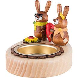 Teelichthalter Hasenpaar mit Herz  -  5cm