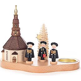 Teelichthalter mit Seiffener Kirche und Kurrende  -  12cm