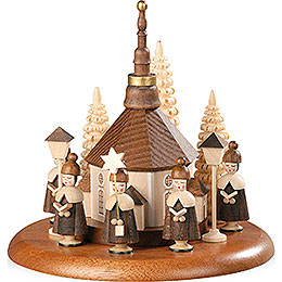 Theme Platform for Electr. Music Box  -  Carolers and Seiffen Church Natural  -  13cm / 5 inch