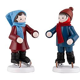 Thiel - Figur Schlittschuhkinderpaar farbig  -  7cm