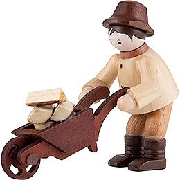 Thiel Figurine  -  Forest Man with Wheelbarrow  -  natural  -  6cm / 2.4 inch