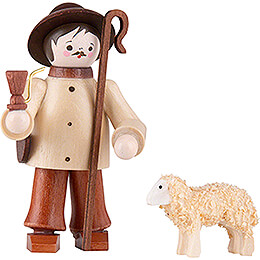 Thiel Figurine  -  Shepherd with Sheep  -  natural  -  6cm / 2.4 inch