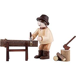 Thiel Figurine  -  Woodsman Sawing  -  natural  -  Set of Three  -  6cm / 2.4 inch