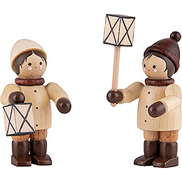 Thiel Figurines  -  Lantern Children  -  natural  -  Set of Two  -  5cm / 2 inch