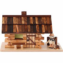 Traditionelles Rauchhaus Waldhütte mit Waldarbeiter  -  10cm