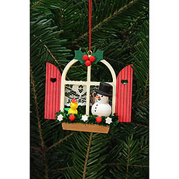 Tree Ornament  -  Advent Window with Snowman  -  7,6x7,0cm / 3x3 inch