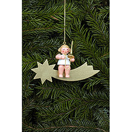 Tree Ornament  -  Angel and Star in Gold with Trombone  -  6,5cm / 3 inch