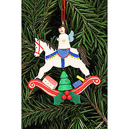 Tree Ornament  -  Angel on Rocking Horse  -  6,8x7,4cm / 2.7x2.9 inch
