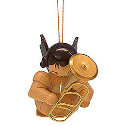 Tree Ornament  -  Angel with Baritone  -  Natural Colors  -  Floating  -  5,5cm / 2,1 inch