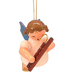Tree Ornament  -  Angel with Bassoon  -  Blue Wings  -  Floating  -  5,5cm / 2,1 inch