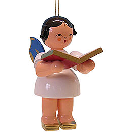 Tree Ornament  -  Angel with Book  -  Blue Wings  -  Floating  -  9,5cm / 3.7 inch