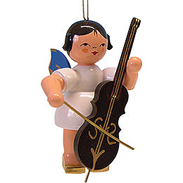 Tree Ornament  -  Angel with Cello  -  Blue Wings  -  9,5cm / 3.7 inch