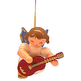 Tree Ornament  -  Angel with Guitar  -  Blue Wings  -  Floating  -  5,5cm / 2,1 inch