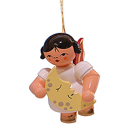 Tree Ornament  -  Angel with Moon  -  Red Wings  -  Floating  -  5,5cm / 2.2 inch