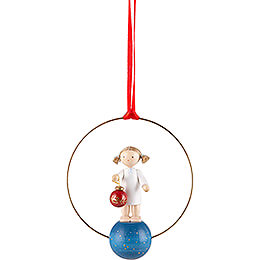 Tree Ornament  -  Angel with Tree Ball  -  7cm / 2.8 inch