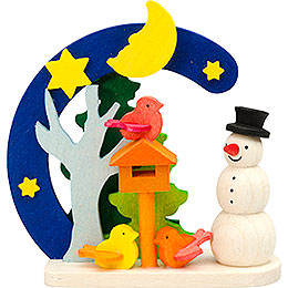 Tree Ornament  -  Arch and Snowman with Bird House  -  7cm / 2.8 inch