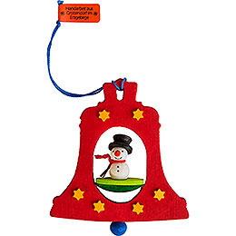 Tree Ornament  -  Bell with Snowman  -  7,5cm / 3 inch