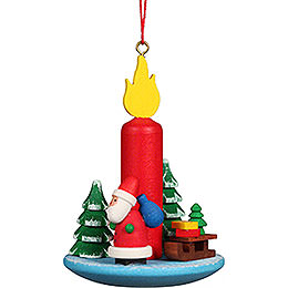 Tree Ornament Candle with Santa Claus  -  5,4x7,4cm / 2.2x2.9 inch