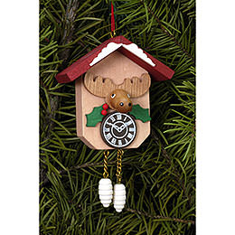 Tree Ornament  -  Cuckoo Clock with Moose  -  6,4x6,5cm / 2.5x2.5 inch