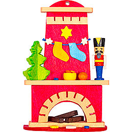 Tree Ornament  -  Fireplace with Nutcracker  -  9cm / 3.5 inch