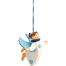 Tree Ornament  -  Floating Angel Blue with Thread  -  6cm / 2.4 inch