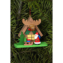 Tree Ornament  -  Forest House with Santa Claus  -  7,1x6,2cm / 2.8x2.4 inch