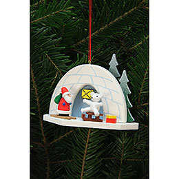 Tree Ornament  -  Iglo with Icebear  -  9,2x7,0cm / 4x3 inch