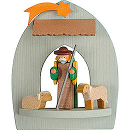 Tree Ornament  -  Nativity with Shepherd, Pickled  -  8,5cm / 3.3 inch