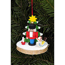 Tree Ornament  -  Nutcracker on Tree Disc  -  5,1x5,1cm / 2.0x2.0 inch