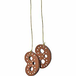 "Tree Ornament  -  ""Pretzl Light Brown""  -  4cm / 1.6 inch"